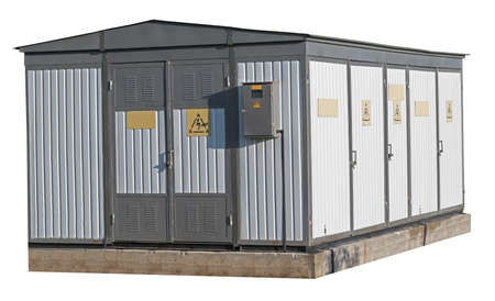 Electric Transformer room building on a white background