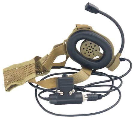 black handheld dynamic microphone for radiocommunication on white background
