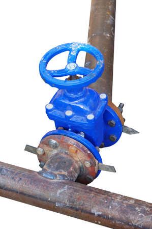 blue wheel valve with pipe on white background Фото со стока