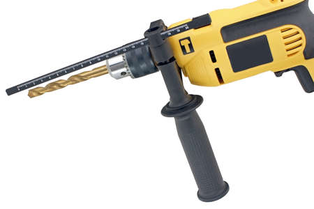 Modern, new, powerful, professional hammer electric drill on a white background