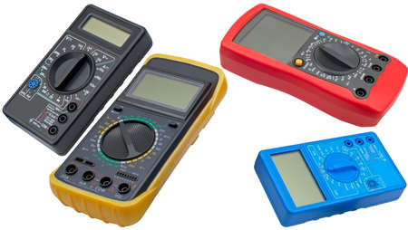 Digital multimeters on a white background Banque d'images
