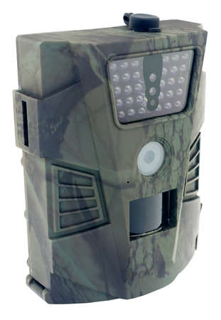 Camera traps with infrared light and a motion detector on white background