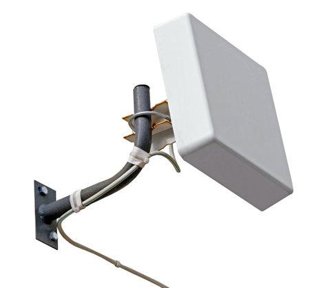 little telecommunication antenna isolated on white background