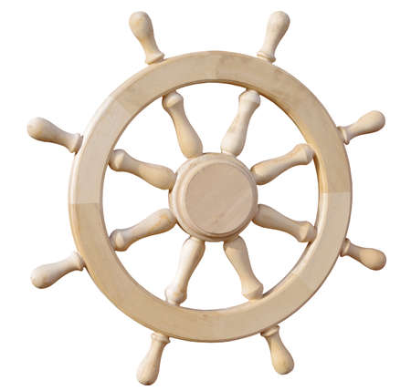 boat steering wheel from wood on white background Banque d'images
