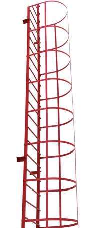 iron ladder, red fire escape on white background Archivio Fotografico