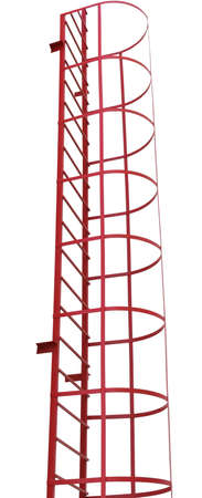 iron ladder, red fire escape on white background Imagens