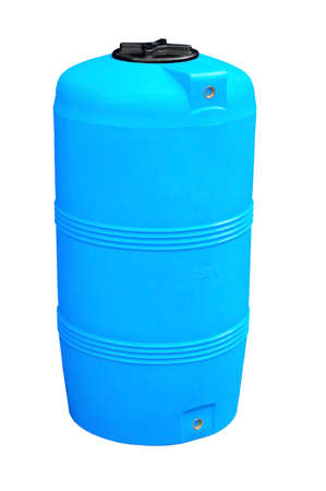 Blue plastic water and liquids barrel storage industrial container isolated on white background
