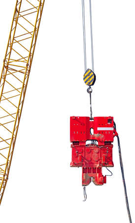 close up at top beam of crane mobile on white background