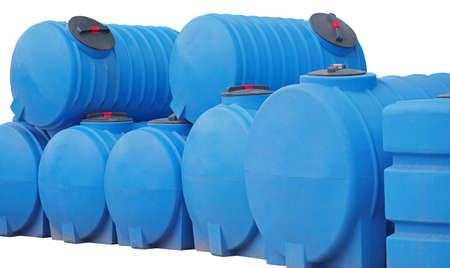 Blue plastic water and liquids barrel storage industrial container isolated on white background 写真素材
