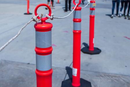 Red pole barricade Stockfoto