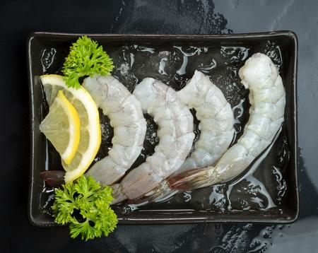 fresh Raw shrimp closeup food seafood isolated Stock Photo