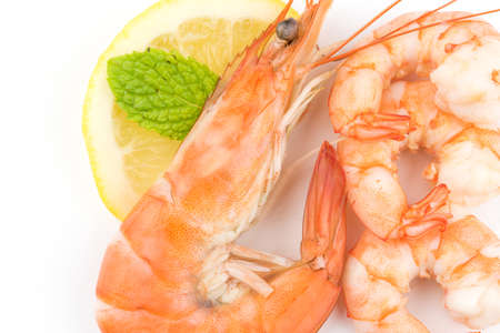 Shrimps. Prawns isolated on a White Background. Seafood Stock Photo