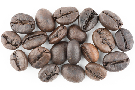 coffee beans isolated in white background texture