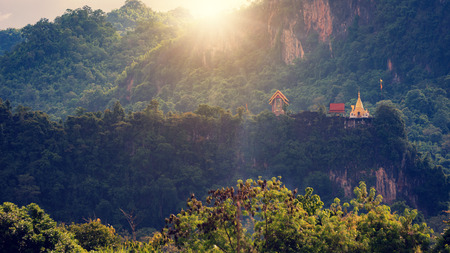 temple on the green Mountain thailand pagoda nature Stock Photo