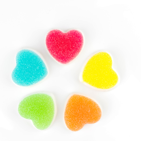 Heart candies coated with sugar, heart colorful sweet candies, sugar heart shaped candy 14 february Foto de archivo