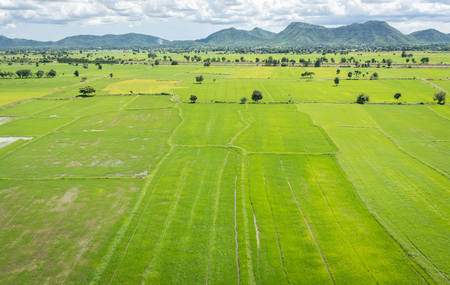 Terrace rice fields mountain view on blue sky with Cloud in Kanchanaburi, Thailand Stock Photo