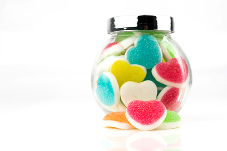 Heart candies coated with sugar, heart colorful sweet candies, sugar heart shaped candy 14 february Stock Photo