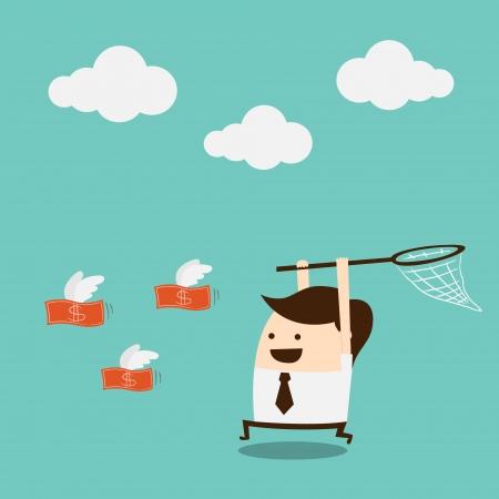 catch: uomo d'affari cercando di recuperare i soldi Vettoriali