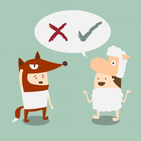 due ragazzi in volpe e agnello mascotte parlare di giusto e sbagliato Vettoriali