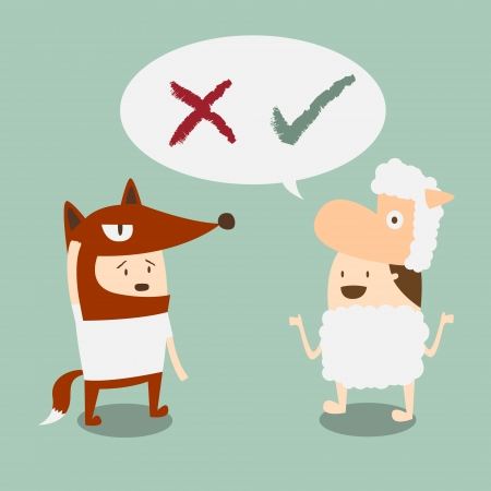 two boys in fox and lamb mascot talk about right and wrong Stock Vector - 17805075