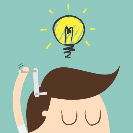 to think: Young businessman with ideas as symbol of business creativity