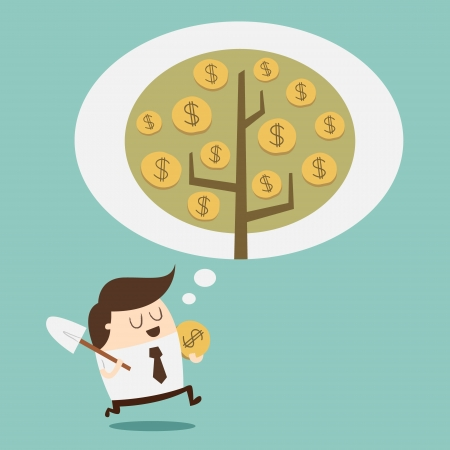 Investimenti - concetto di crescita Denaro Vettoriali