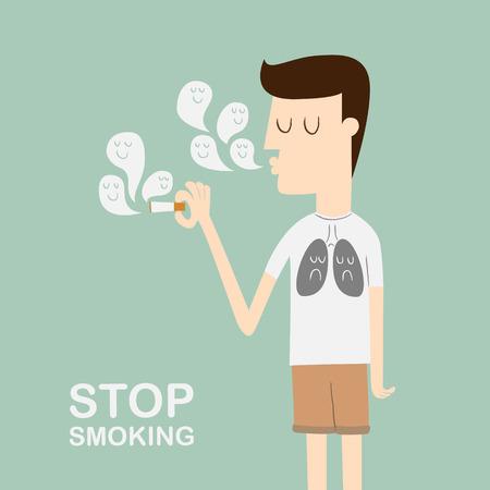 giovane uomo fumo di sigaretta Vettoriali