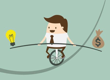 Uomo di affari che equilibra sulla corda con idee e denaro
