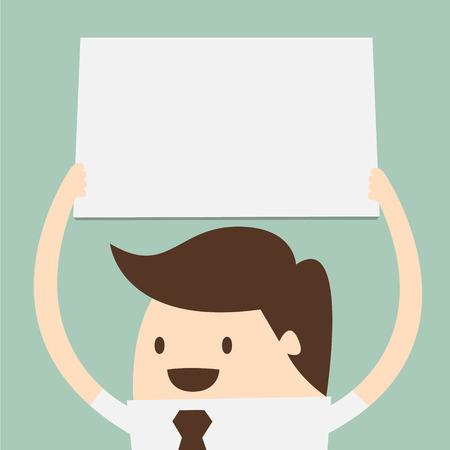 giovane uomo d'affari che tiene grande carta bianca sopra la testa