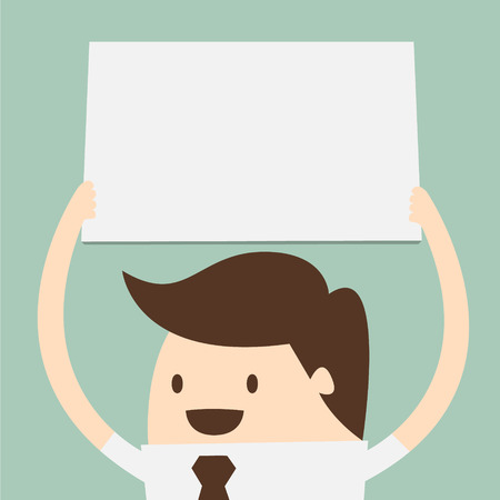junge Geschäftsmann hält große leere Papier über den Kopf