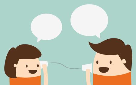 Giovane ragazzo e una ragazza a parlare con il telefono tazza