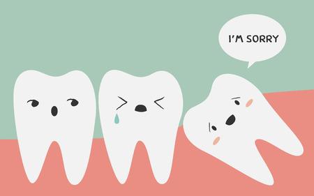 tooth: ilustración diente impactado Vectores