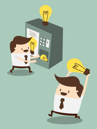 distribution automatique: jeune homme d'affaires acheter de nouvelles id�es de distributeur automatique