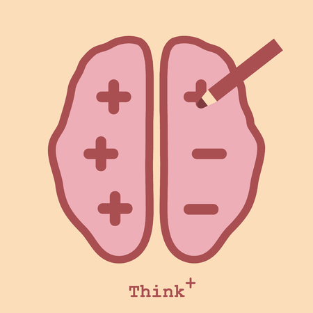 Pensiero positivo, Cervello con pi� e meno segno Vettoriali