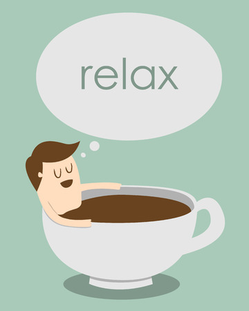 man relaxing in coffee cup Illustration