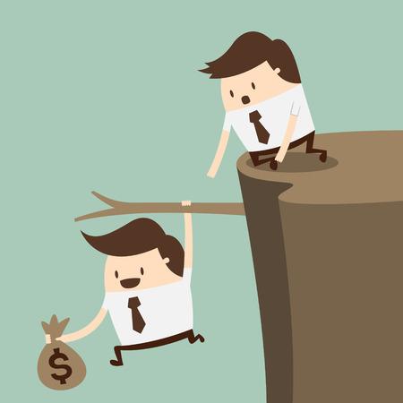 Fiscal cliff, crisis concept Vector