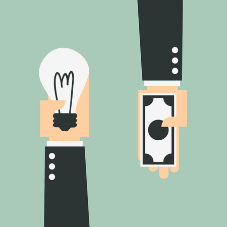 Business trading, Ideas and money Illustration