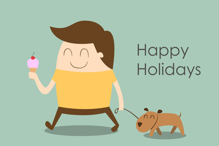 Happy man walking a dog, happy holidays