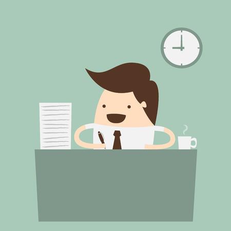 Business Person im Büro arbeitet Stunde