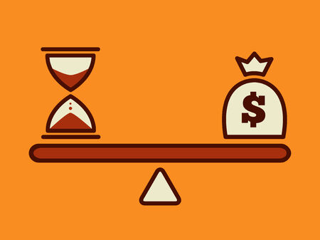 balance scale: time is money, money concept Illustration