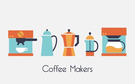 Urządzenia do przygotowywania kawy i herbaty, kawy wektor zestaw ikon
