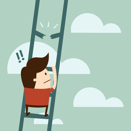boy climbing up a ladder  Ilustrace