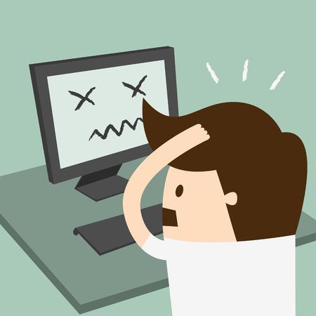 Gefrustreerde man zit wanhopig over het werk op het bureau