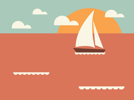 Vintage seaside view  Vector  Illustration