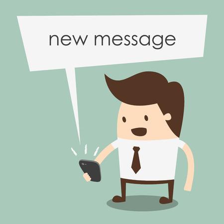 uomo d'affari la lettura di un messaggio di testo