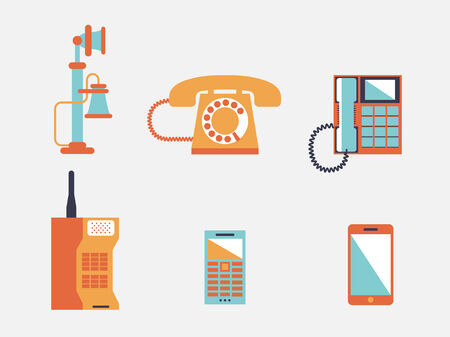phone cord: Phone icons, vector illustration Illustration