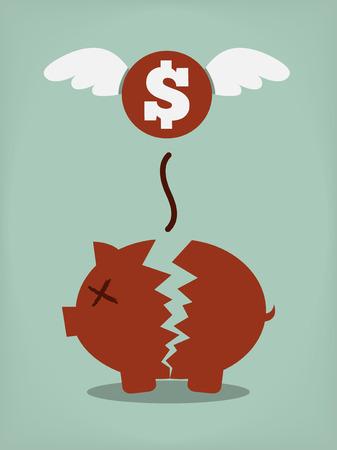 bank account: Broken Piggy Bank concept for financial crisis or economic