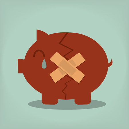 economic depression: Piggy bank with plasters concept for financial crisis or economic depression Illustration