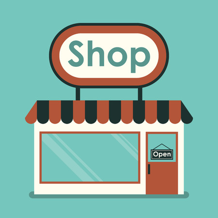 simple: Shop Front  Exterior horizontal windows empty for your store product presentation or design