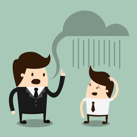 UOMO pioggia: Boss gridando a un dipendente